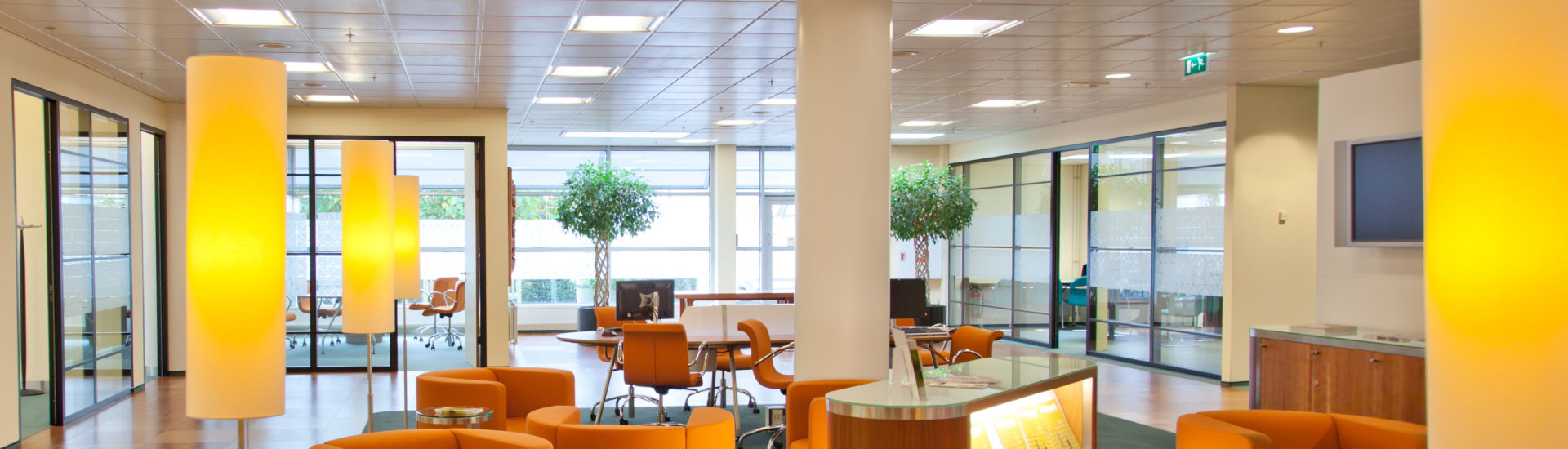 Lobby LED lighting and lighting controls lower costs and qualify for utility rebates