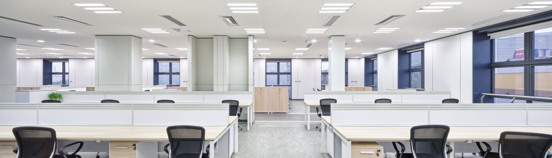 Shared office space with optimal LED commercial lighting design