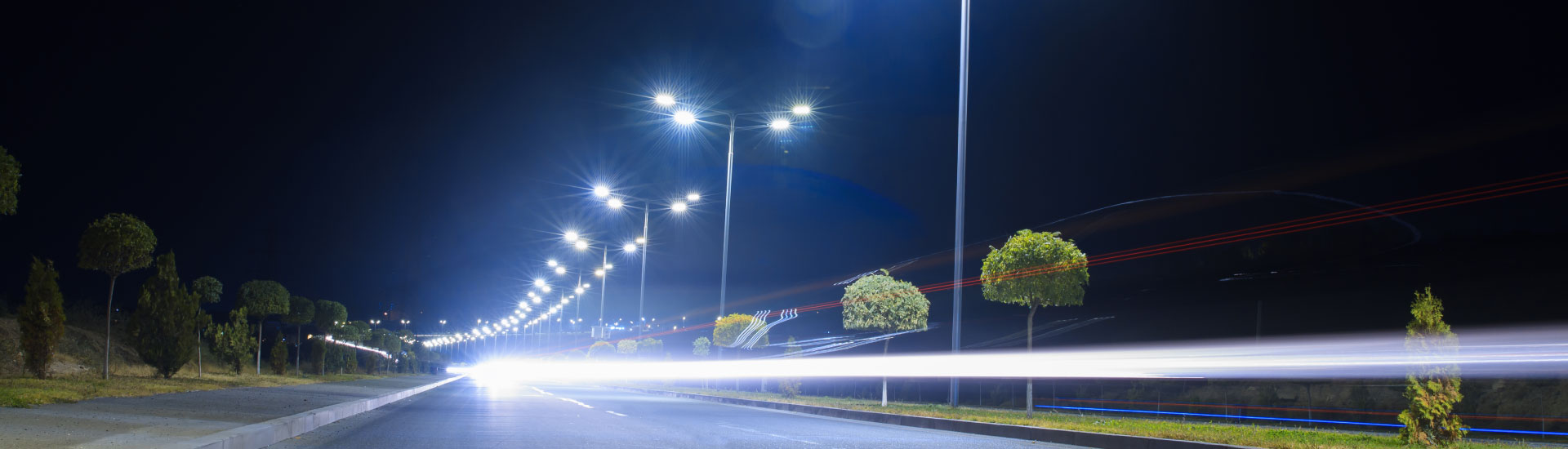 Modern LED street lights delivering high quality light exactly where needed