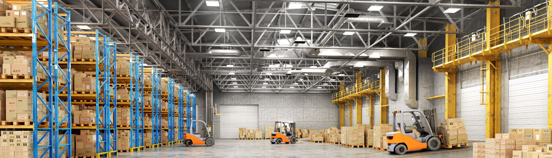 Warehouse facility with LED industrial high bay lighting