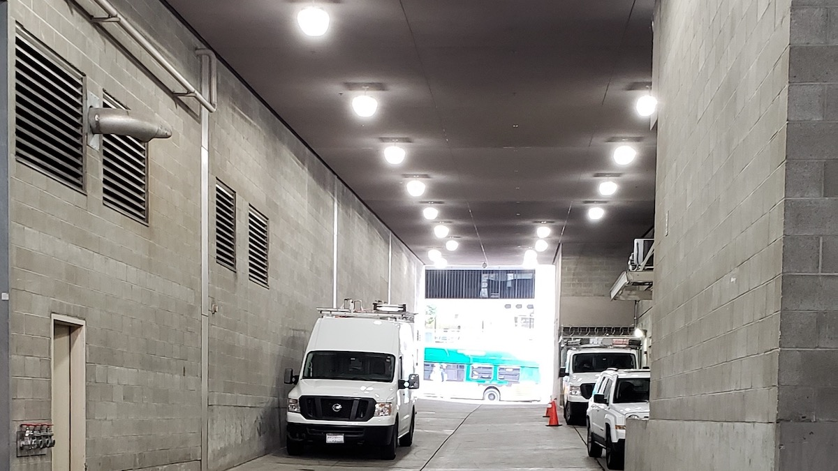 Bright Parking Garage Alley After LED Lighting Upgrade